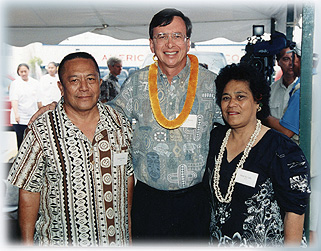 A photo of us with the Mayor of Honolulu, Mayor Jeremy Harris